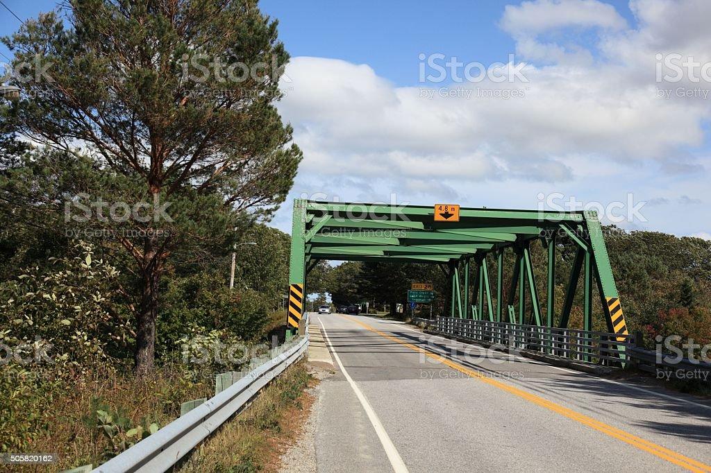 View of the Clyde River bridge, Nova Scotia, Canada stock photo