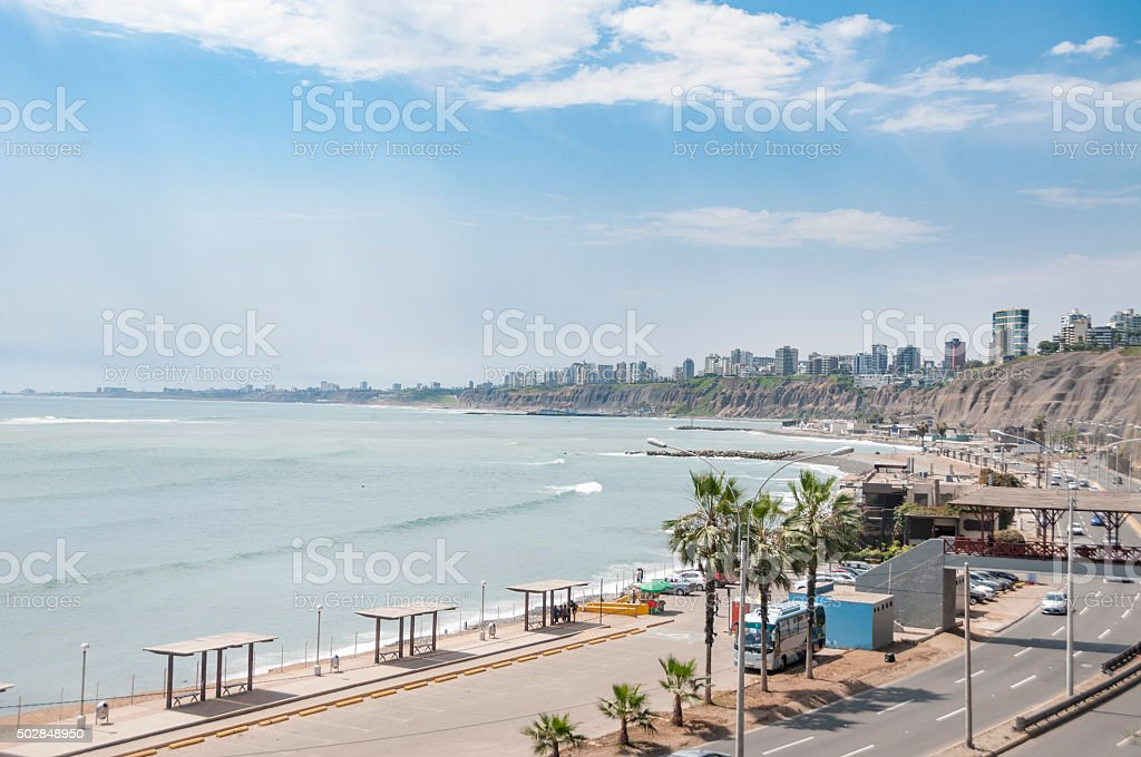 View Of The Coast In Lima, Peru stock photo