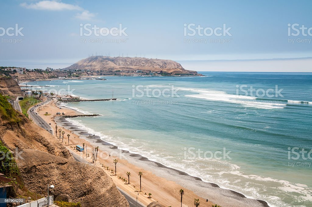 View Of The Coastline And Pacific Ocean In Lima, Peru stock photo