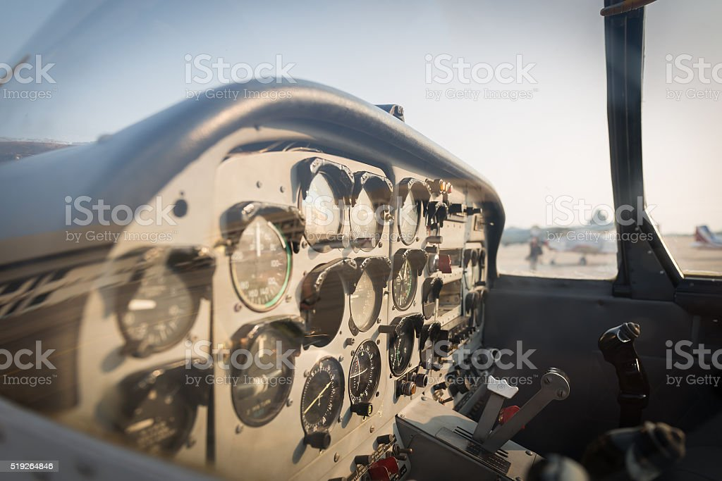View of the cockpit of a small plane. stock photo