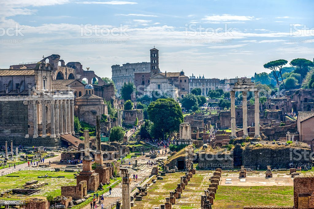 View of the Colisseum and the Basilica Giulia stock photo