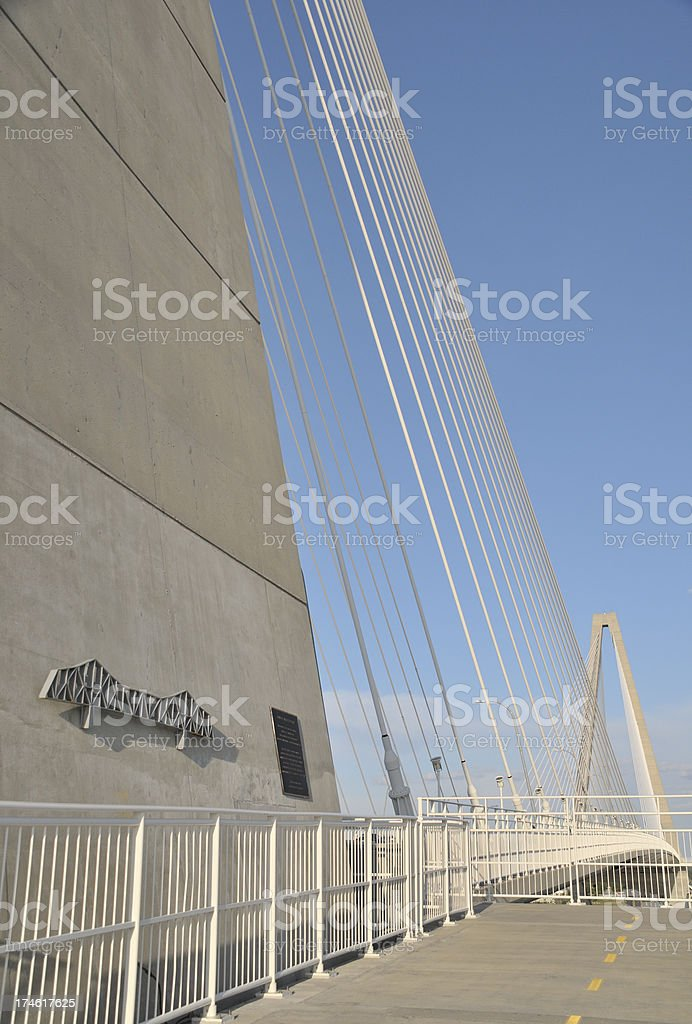 A view of  the Cooper River Bridge in South Carolina stock photo