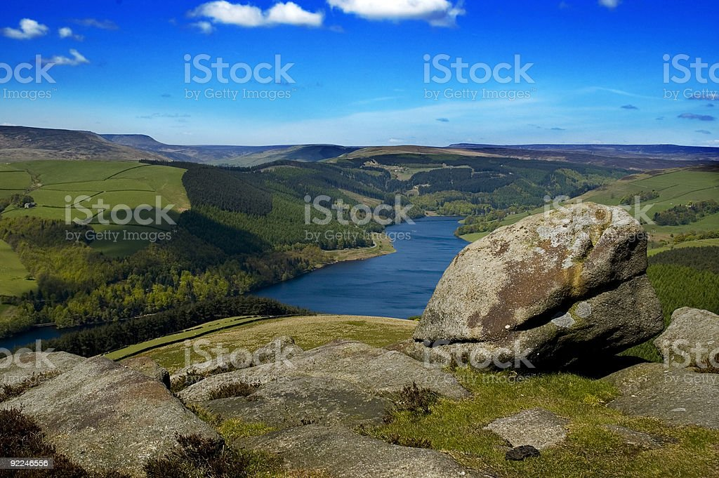 A view of the countryside view of Ladybower Reservoir stock photo