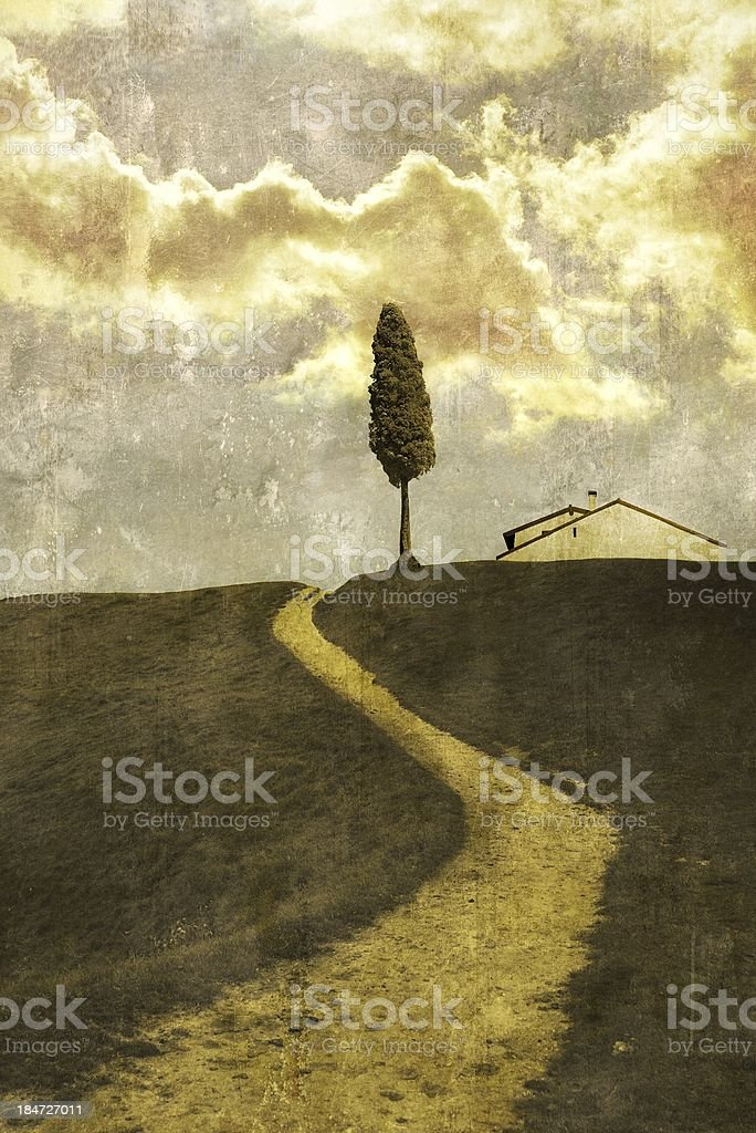View of the countryside with single tree royalty-free stock photo
