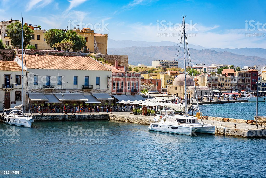 View of the Cretan sea and Greek port of Chania town stock photo