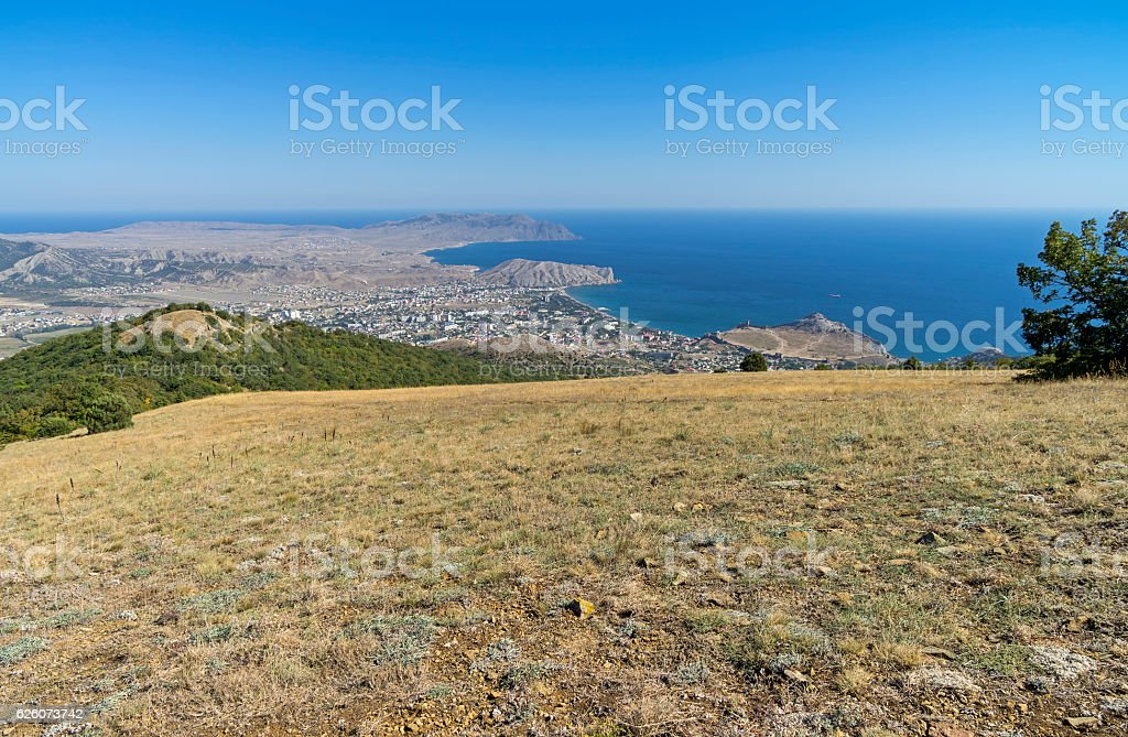 View of the Crimean coast from the top of stock photo