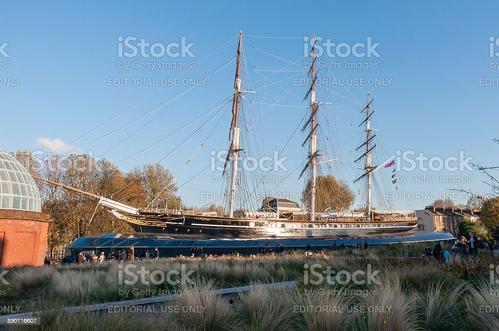 View of the Cutty Sark in London stock photo
