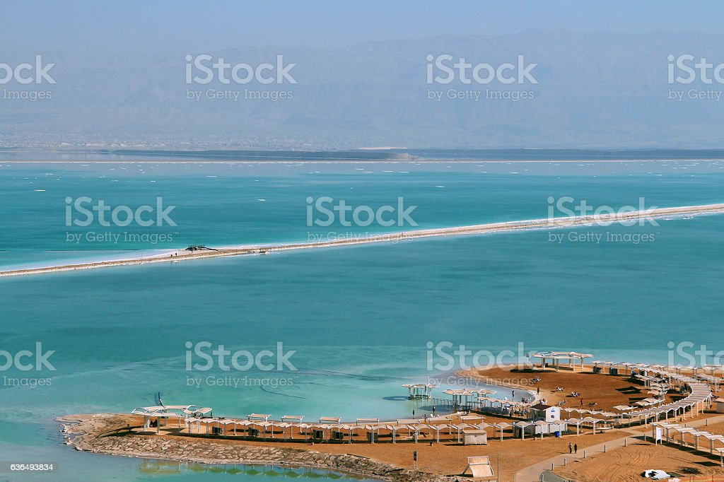 view of the Dead Sea beach on the side of Israel stock photo