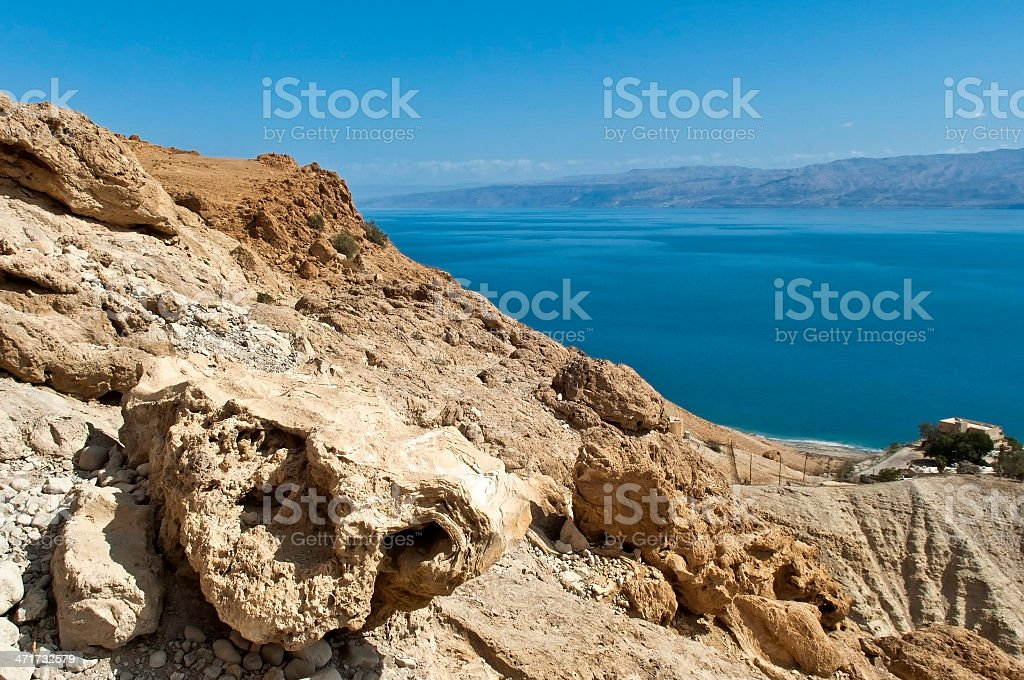 view of the Dead Sea stock photo