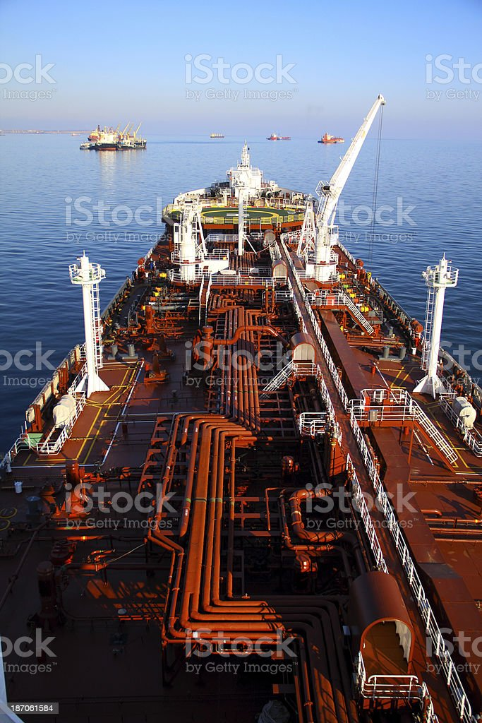view of the deck tanker stock photo