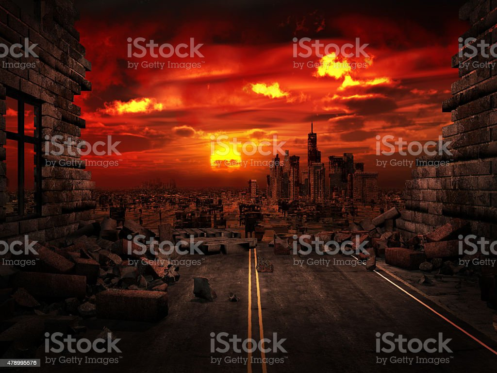 View of the destroyed city vector art illustration