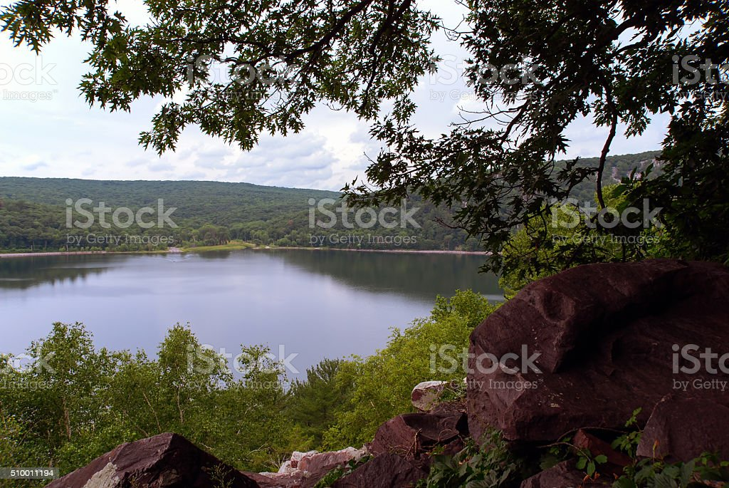 View of the Devil's Lake from the mountains, Wisconsin, USA stock photo