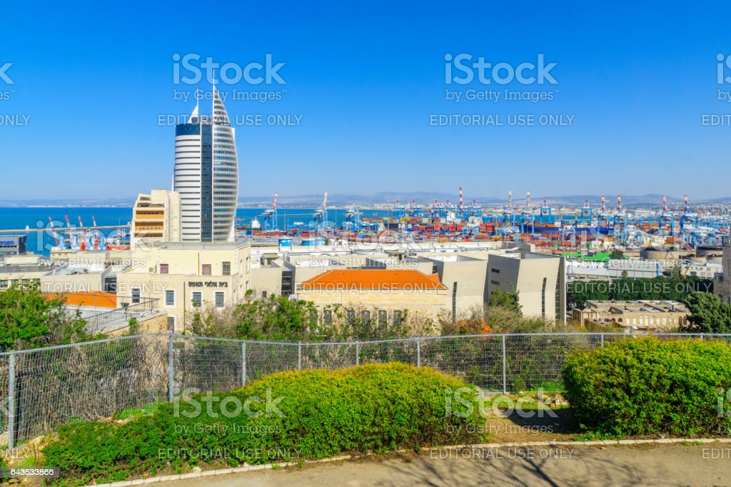 View of the downtown and the harbor, in Haifa stock photo