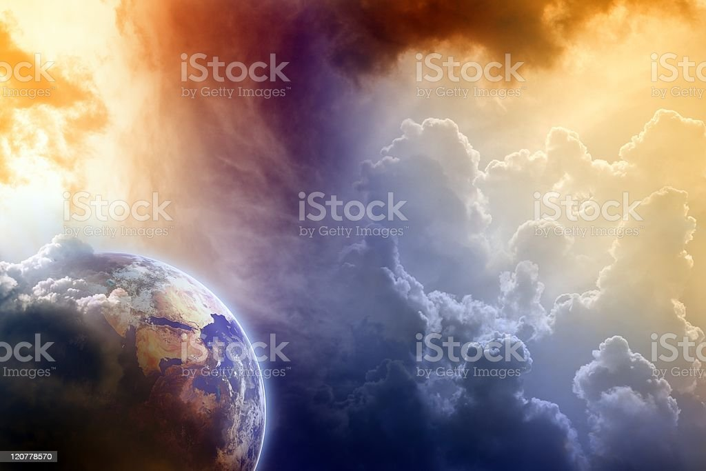 A view of the earth from clouds stock photo