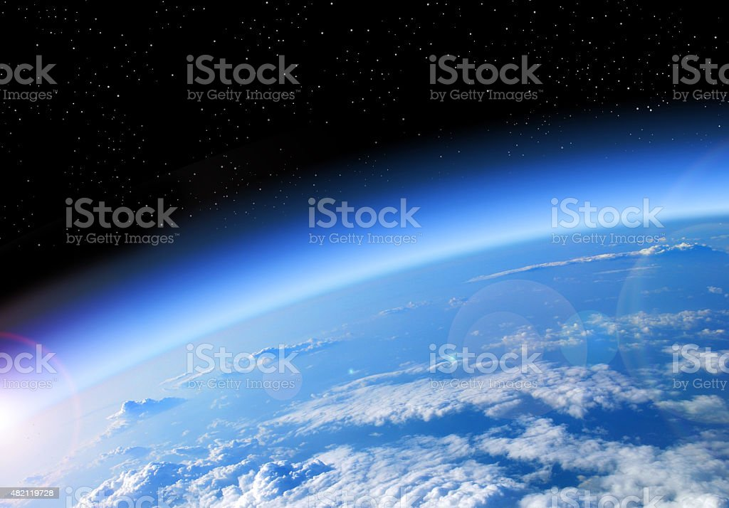 view of the Earth from space stock photo