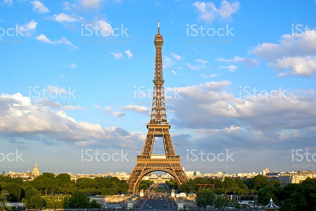 A view of the Eiffel Tower at dusk royalty-free stock photo