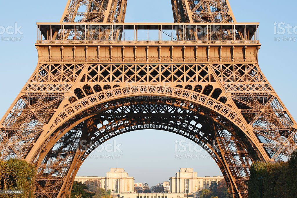 View of the Eiffel Tower, looking through the bottom half  royalty-free stock photo