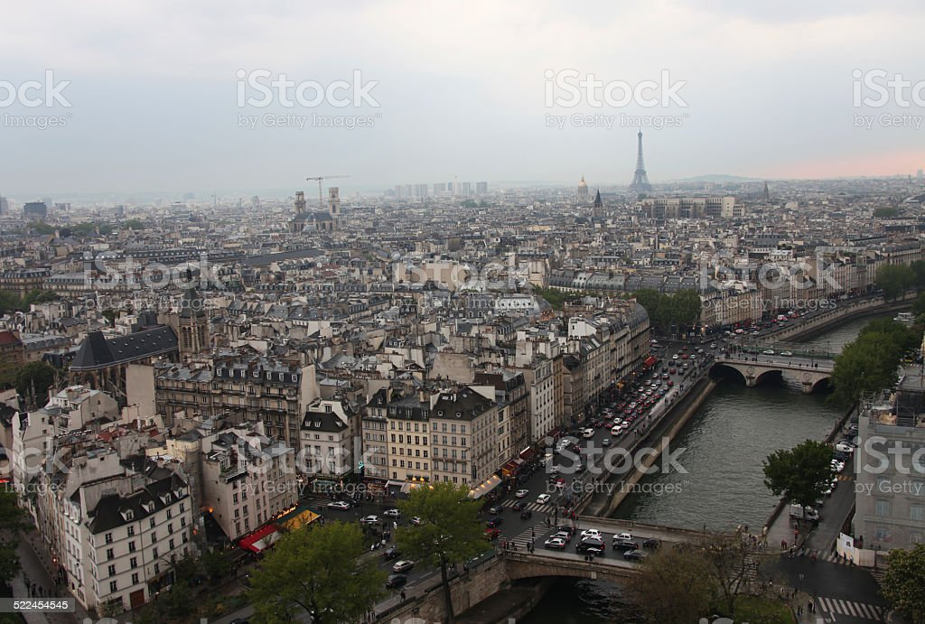 View of the Eiffel tower, the Seine river and Paris stock photo
