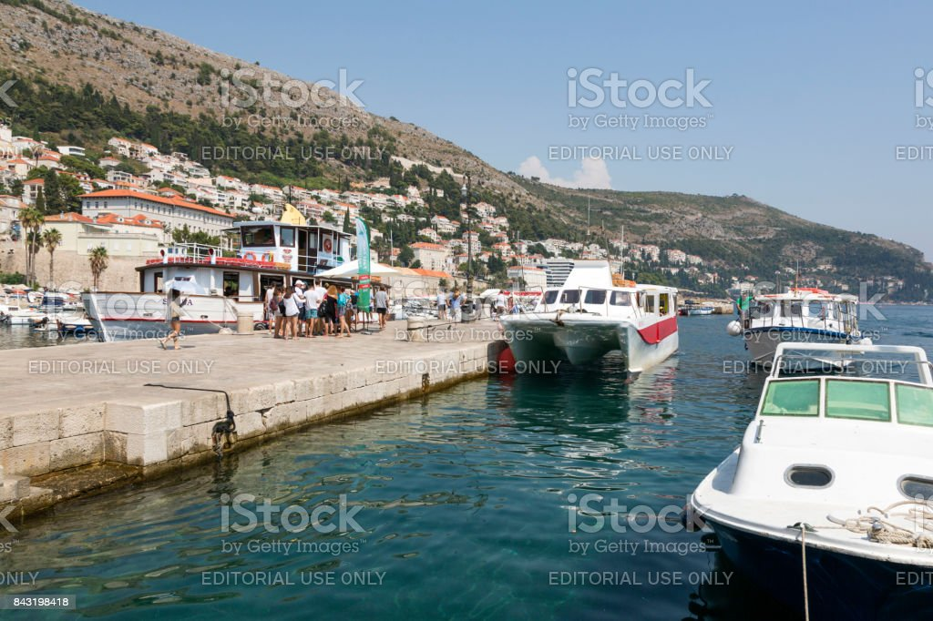 View of the embankment and pier in Dubrovniki, Croatia. stock photo