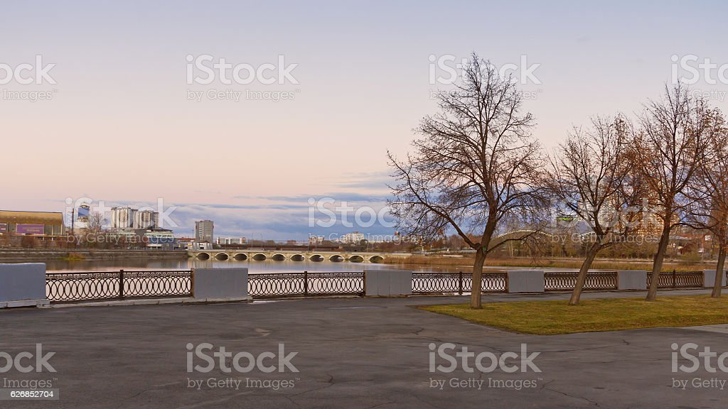 View of the embankment of the river at dawn stock photo