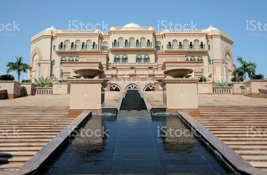 A view of the Emirates Palace in Abu Dhabi stock photo