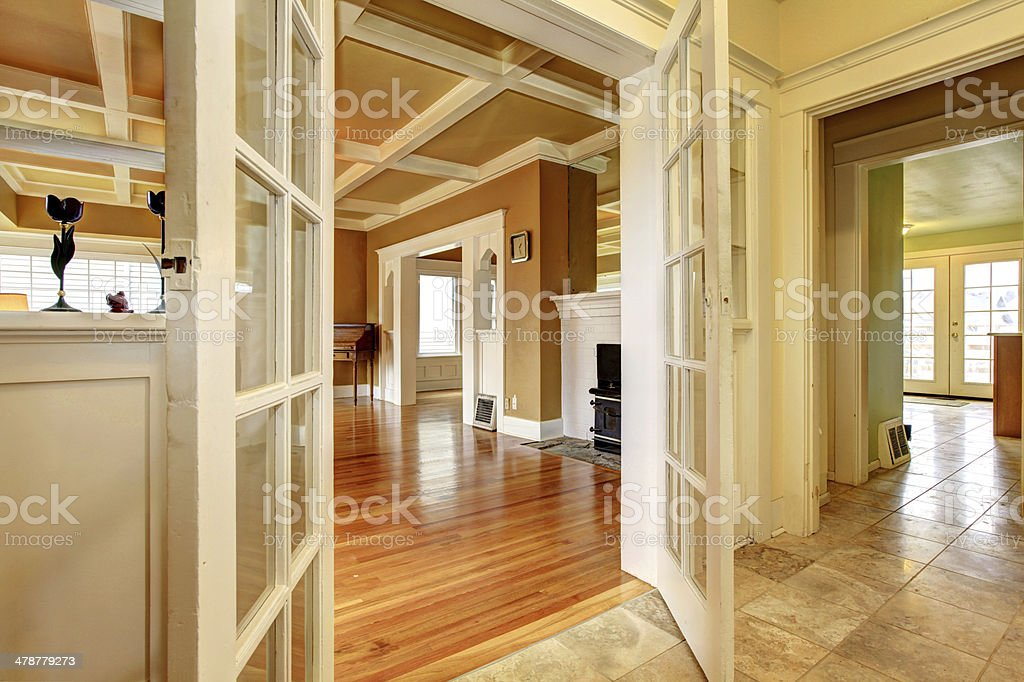 View of the empty living room from a hallway stock photo