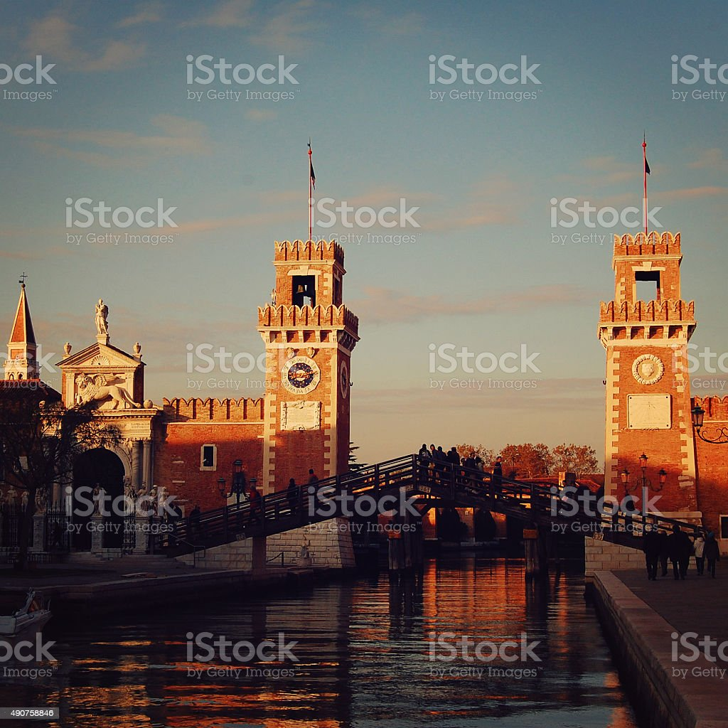 View of the Entrance to the Venetian Arsenal. stock photo