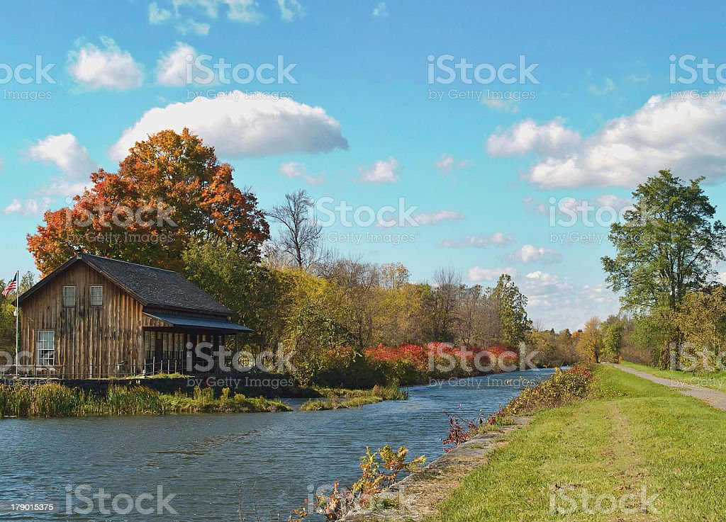 view of the erie canal in autumn stock photo