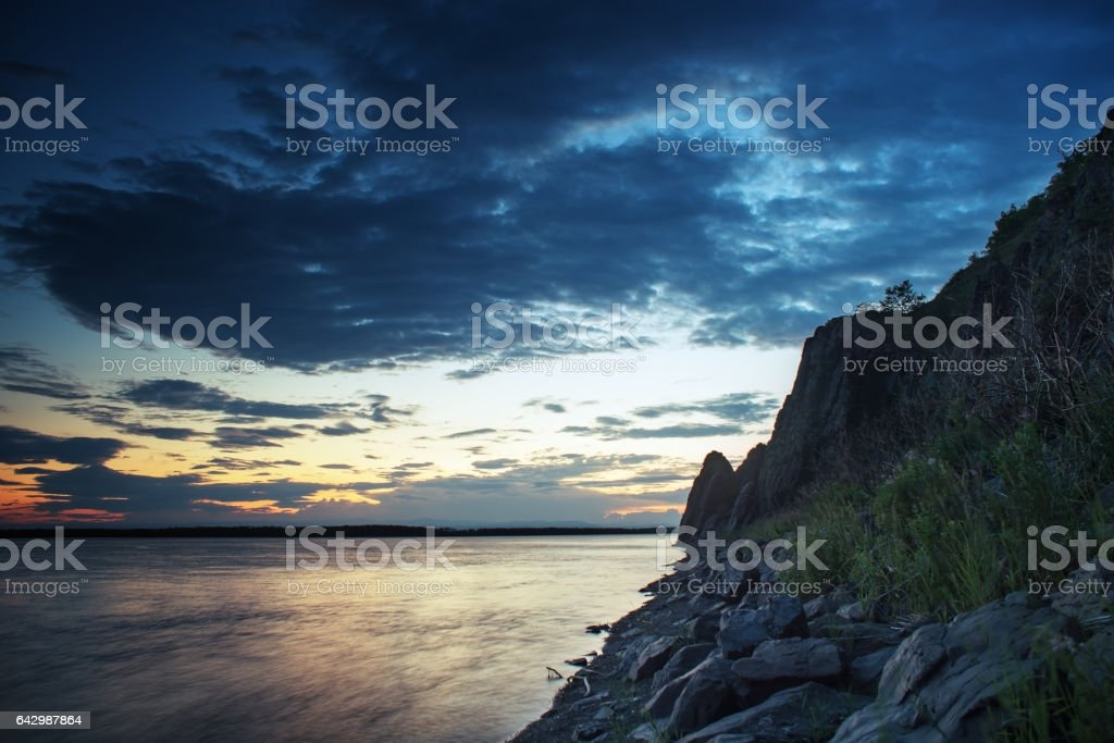 View of the evening on the Amur River. stock photo