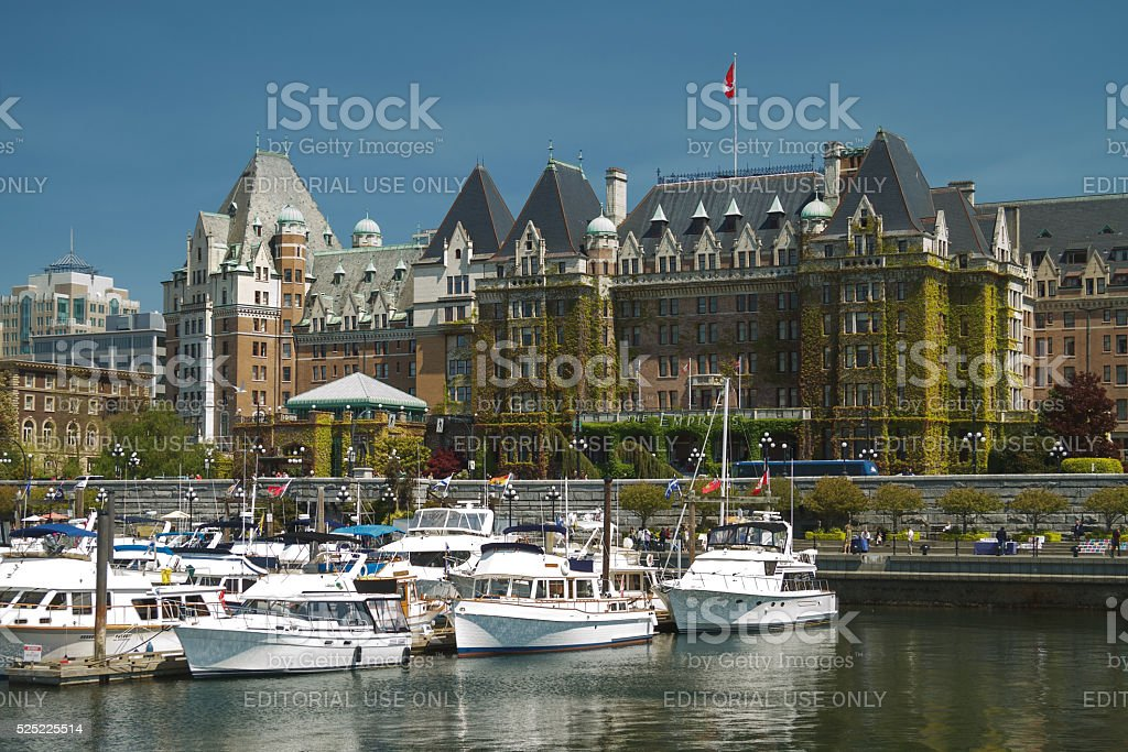 View of The Fairmont Empress Hotel over the bay stock photo