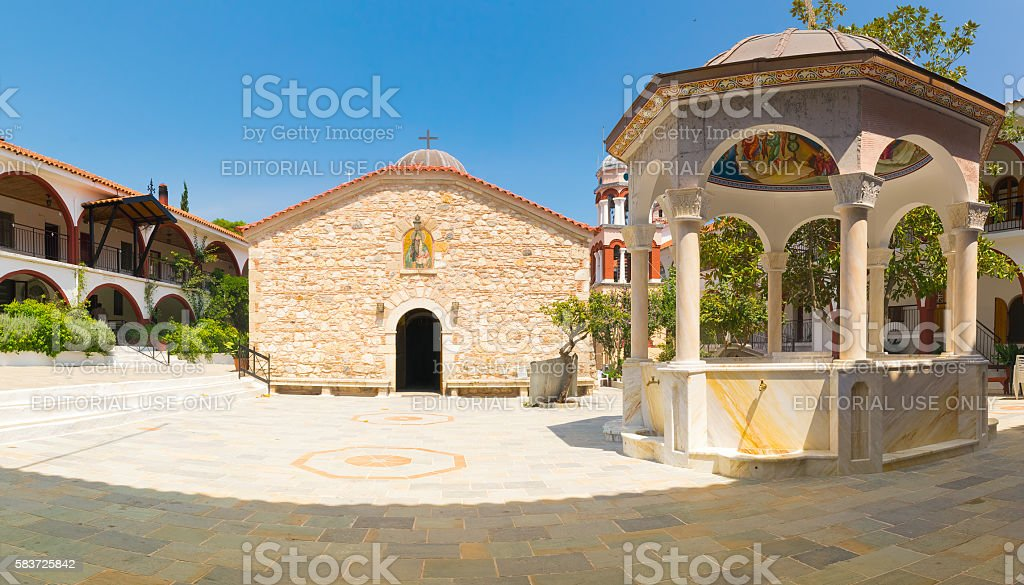 View of the famous monastery of Saint David at Evia. stock photo