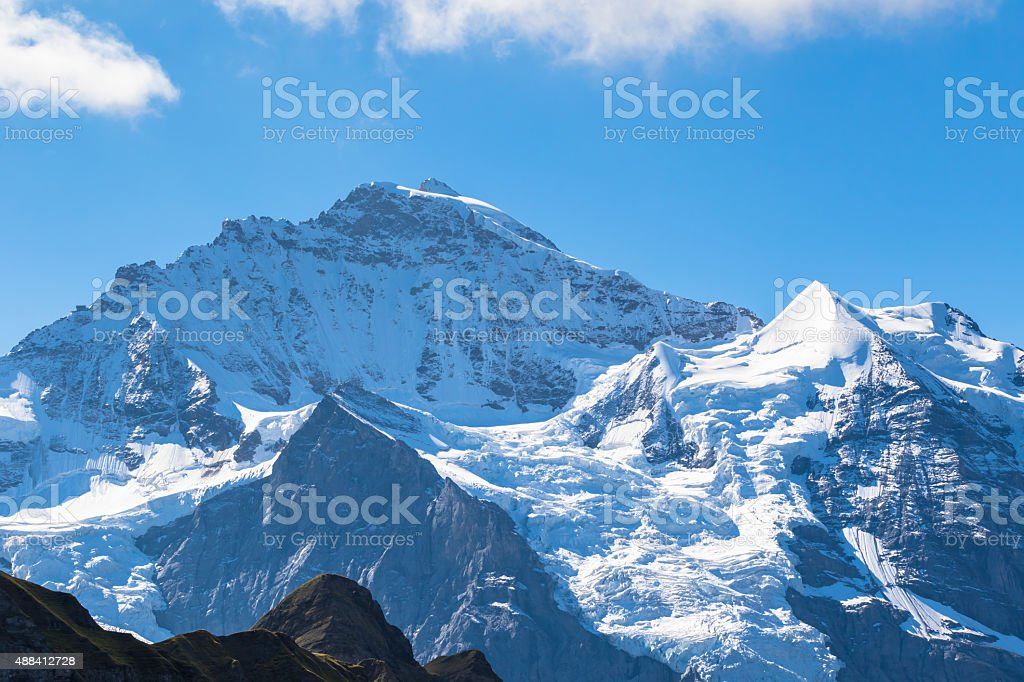 View of the famous peak Jungfrau stock photo