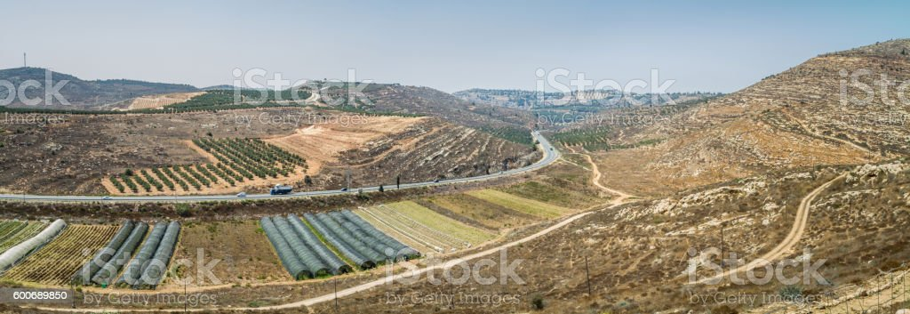 View of the farmland, settlement Shilo in Israel stock photo