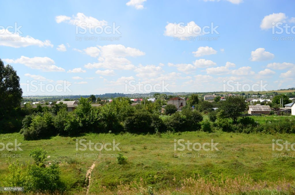 View of the field from the train. stock photo
