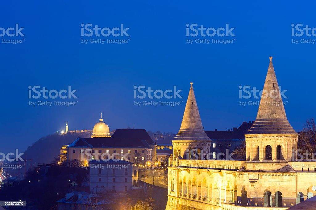 View of the Fisherman's Bastion and Citadella in Budapest stock photo