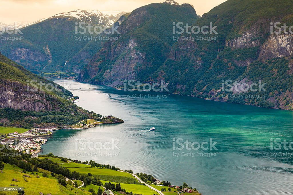 View of the fjords at Stegastein viewpoint in Norway stock photo