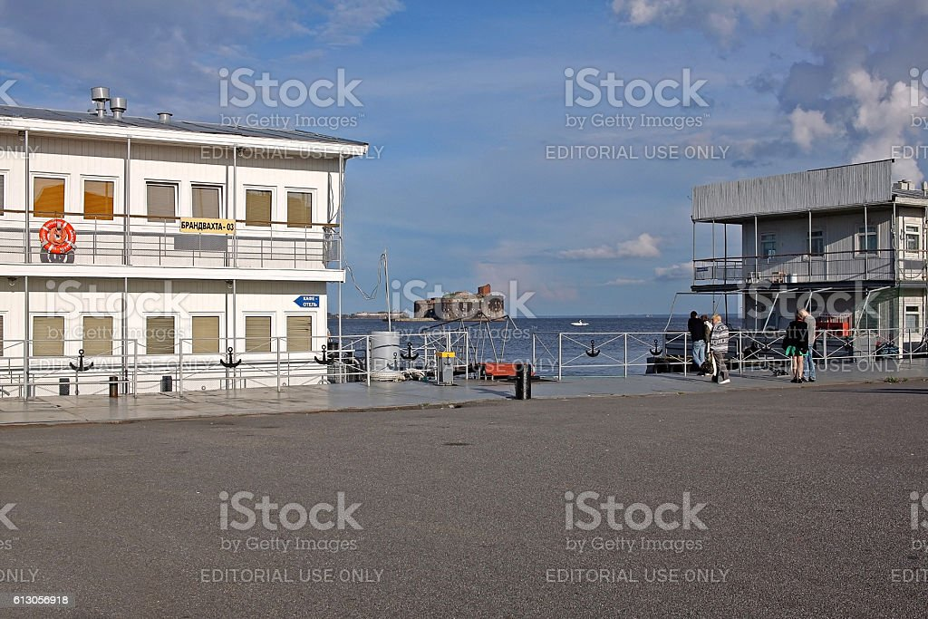 View of the Fort Alexander (Plague Fort) from the Fort Constantine. Russia stock photo