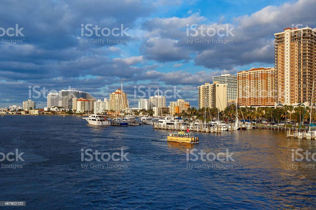 View of the Fort Lauderdale Intracoastal Waterway stock photo