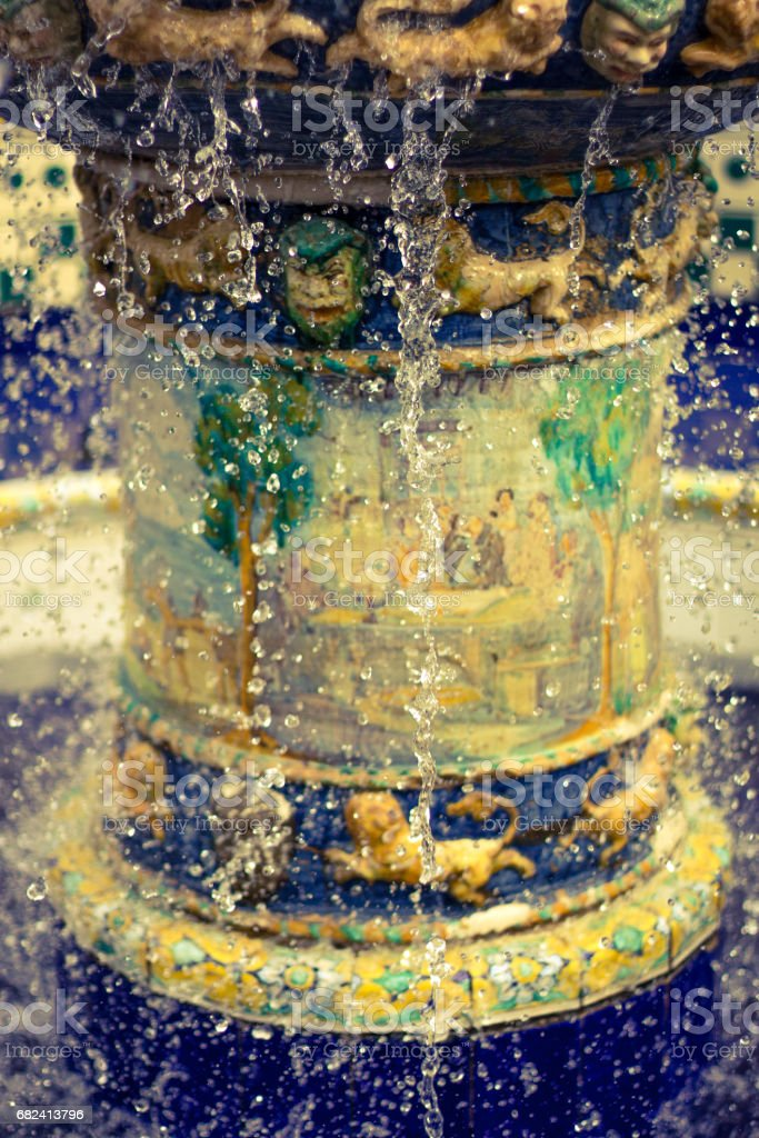 View of the fountain with the water stopped in time. stock photo