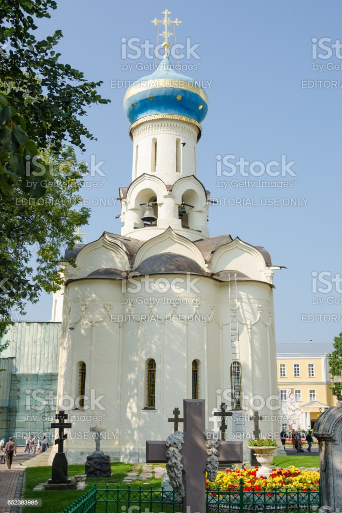 Sergiev Posad - August 10, 2015: View of the front of the grave Spirit temple of the Holy Trinity St. Sergius Lavra stock photo