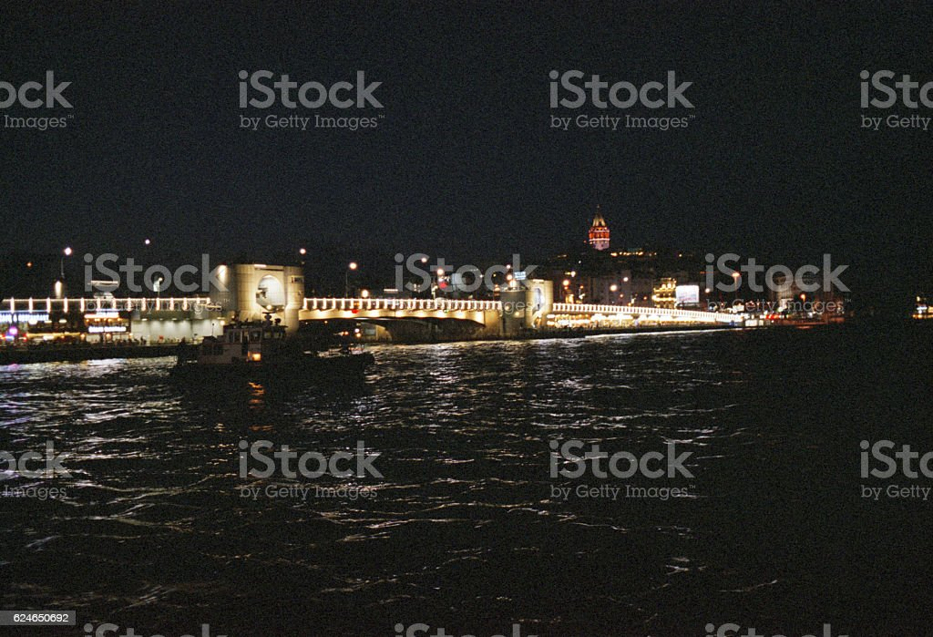 View of the Galata Bridge and Galata Tower stock photo