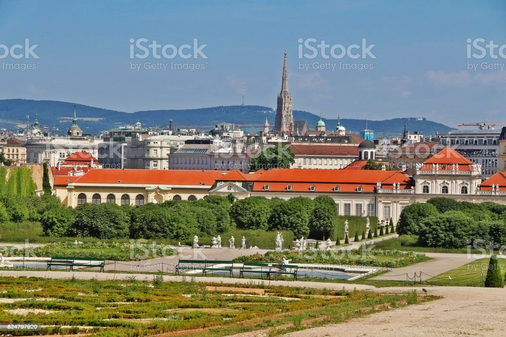View of the gardens seen from the Upper Belvedere with rooftop of St. Stephen's Cathedral (Stephansdom) in distance, Vienna (Wien), Austria (Osterreich) stock photo