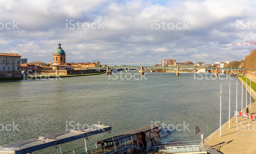 View of the Garonne river in Toulouse - Midi-Pyrenees, France stock photo
