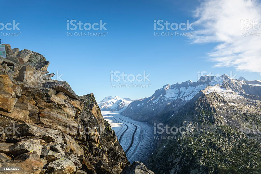 View of the glacier, Eggishornn, Aletsch, Switzerland stock photo