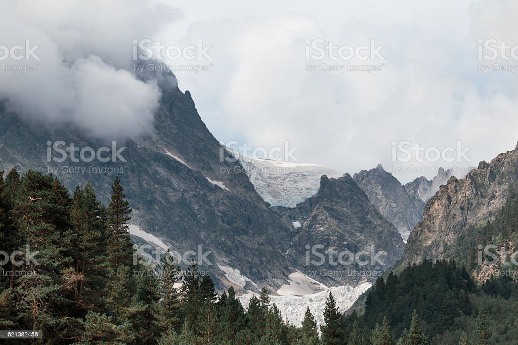 View of the glacier in the mountains. stock photo
