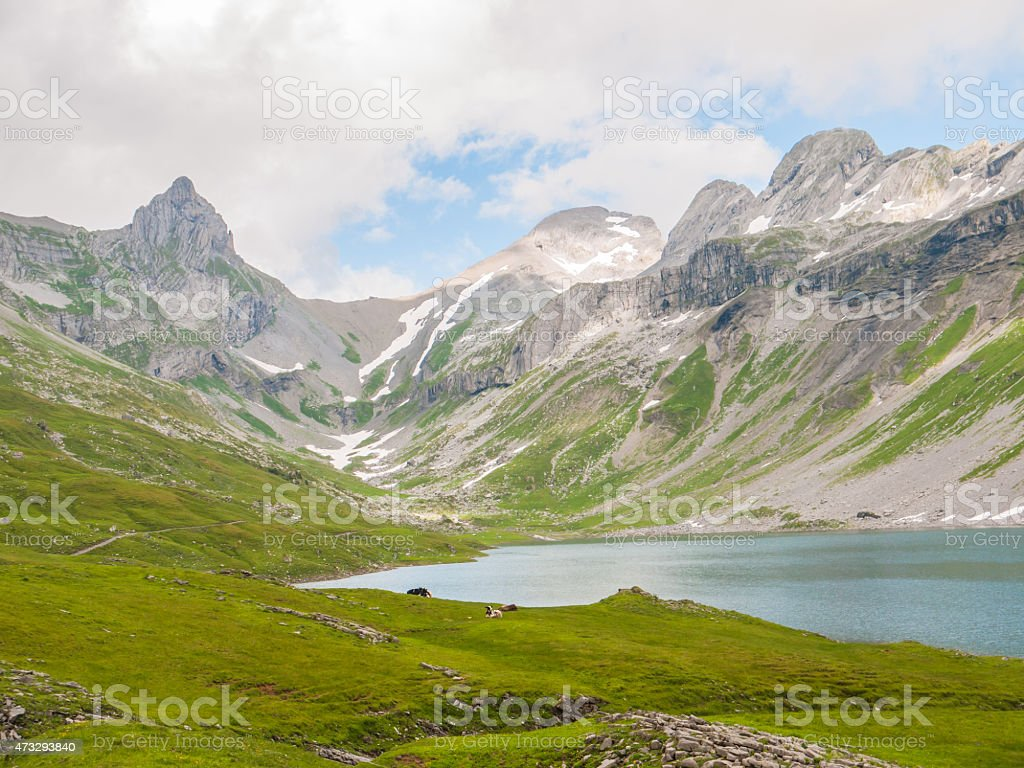 View of the Glattalpsee (lake) and Ortstock in the valley stock photo
