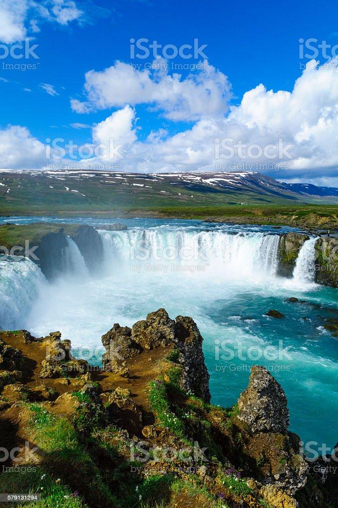 View of the Godafoss waterfall stock photo