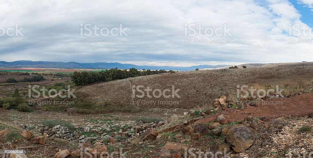 view of the Golan Heights stock photo