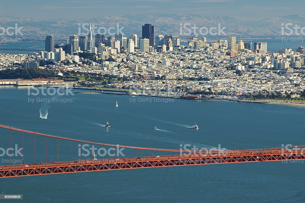 View of the Golden Gate Bridge, water, and San Francisco royalty-free stock photo