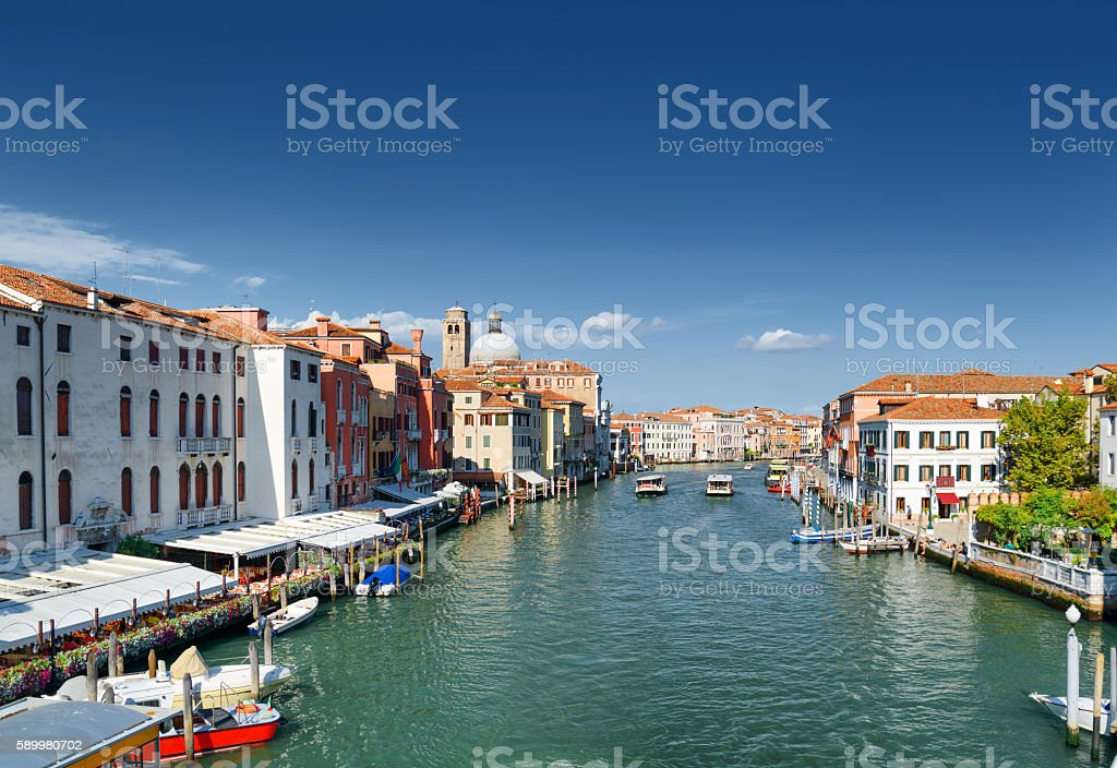 View of the Grand Canal and facades of medieval houses stock photo